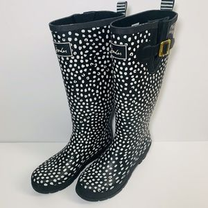 Joules Wellyprint Tall Rainboots 7 Black Dot Spot